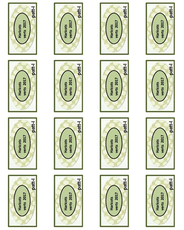 16 étiquettes haricots verts que vous pouvez télécharger gratuitement . Cliquer droit sur l'image et enregistrer sous dans votre ordinateur et imprimer.