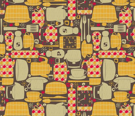 Retro Kitchen Fabric By Leighr On Spoonflower   Custom Fabric