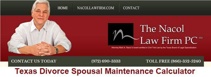Texas Divorce Spousal Maintenance Calculator http://www.nacollawfirmblog.com/family-law/texas-divorce-spousal-maintenance-calculator