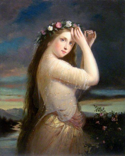 Carl Josef Alois Agricola (atribuído, 1779 - 1852) - Retrato de uma beleza com uma coroa de flores