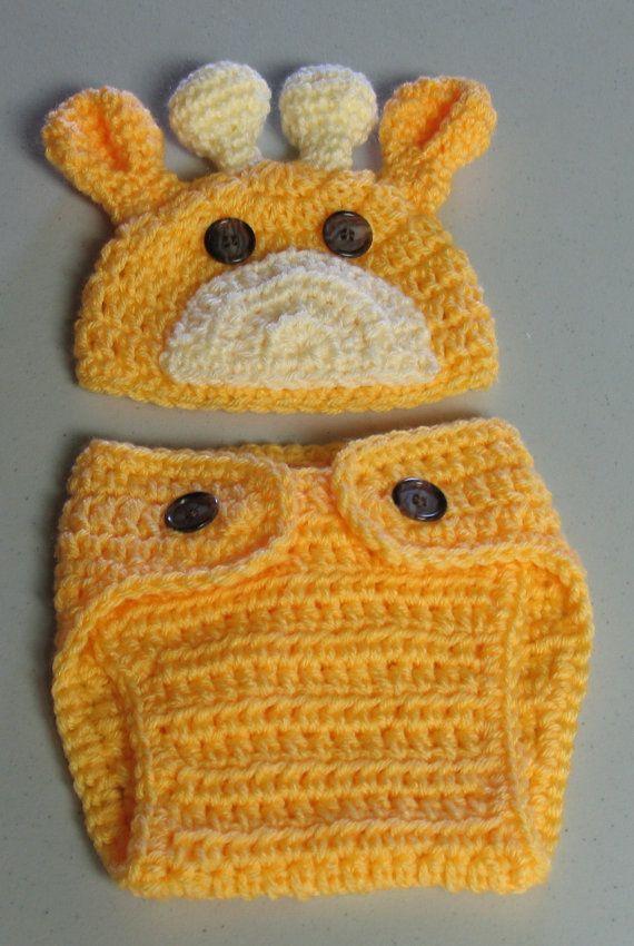Hand Crocheted Newborn Baby Giraffe Hat and Diaper Cover Set