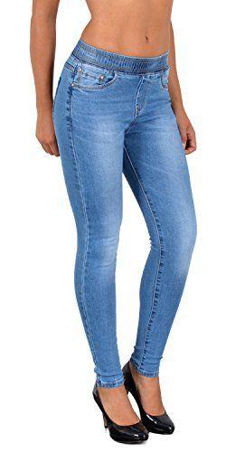ee89bd4e5e1 by-tex ESRA Jean Femme Skinny avec Ceinture élastique Skinny Jeggings pour  Femmes Pantalon Femme
