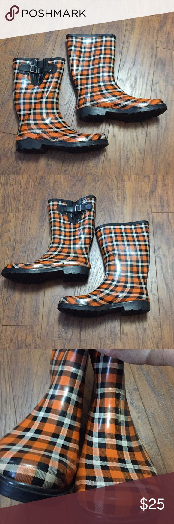 Rain boots OSU Oklahoma State Cowboys Plaid orange OSU Oklahoma State University rain boots in black and orange plaid.  These are Size 10 women's boots and show some signs of wear (pictured) OSU Shoes Winter & Rain Boots