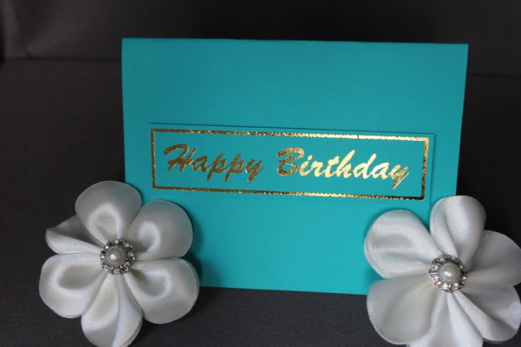 Teal Happy Birthday Cards With Gold Foil by DazzlingCreationsCA on Etsy
