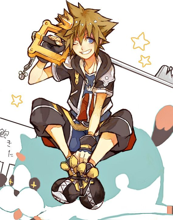 Tags: Anime, Kingdom Hearts, Sora, Keyblade, Fingerless Gloves, Black Gloves, Pixiv Id 3895952