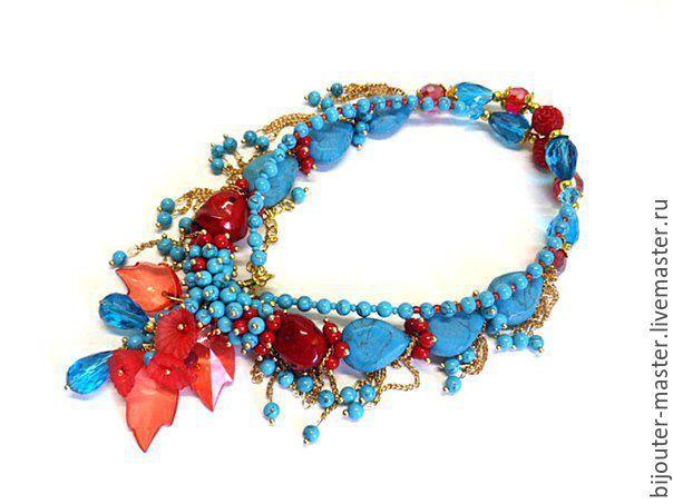 Купить СКАЗКА КРАСНОГО МОРЯ- колье - комбинированный, бирюзовый цвет, коралл натуральный, красный коралл