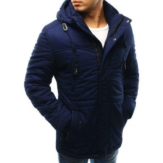 Prodloužená pánská bunda na zimu s kapucí a stahováním na pásu v modré barvě - manozo.cz