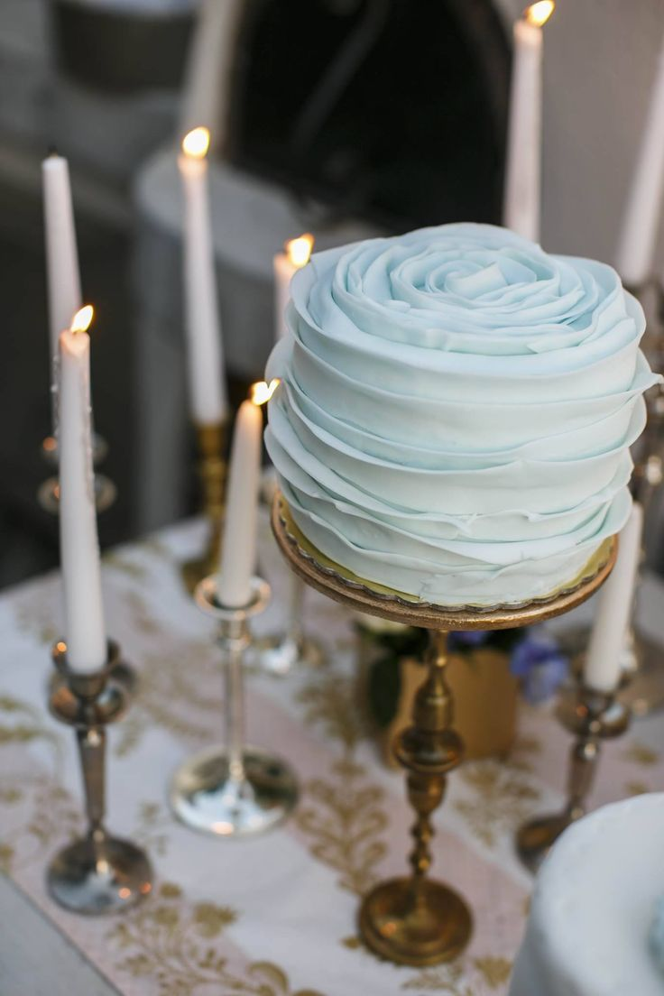 Wedding cake inspirations    light blue ruffled cake   vintage cake stand   One tier wedding cake   Wedding in Greece