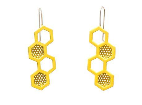 Honeycomb earrings by Jin Ah Jo  (Sterling silver, powder coated mild steel)