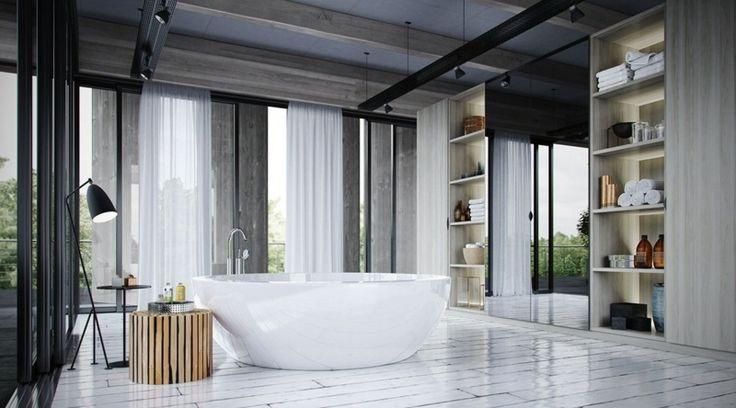 Runde Badewanne mit glänzender Oberfläche