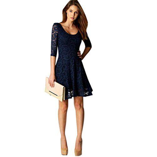 Elecenty Damen Knielang Kleider Spitzekleid Soilde Minikleid Frauen 3 4 Armel Mode Kleid Kleidung Rundhals A Linie Partyklei Kleider Damen Kleidung Sommerkleid