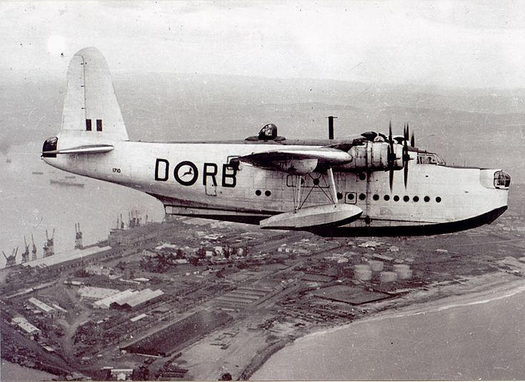 South African Air Force Short Sunderland flying boat, operating from Lake…
