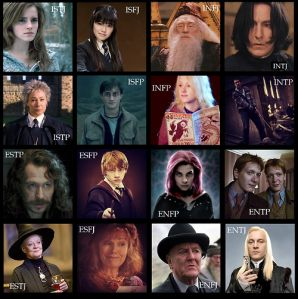 harry potter personality types myers briggs INTP, ESFJ, INTJ, ENFP, ISTP