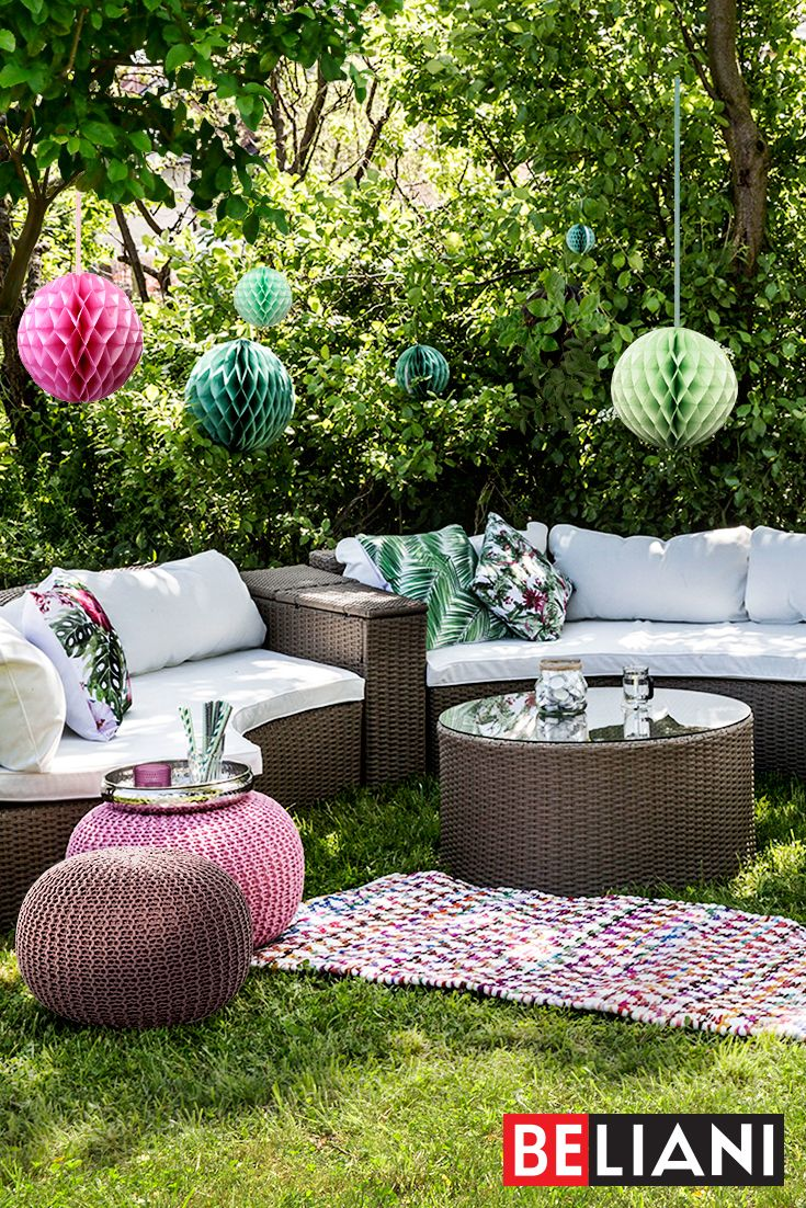 Comfort and space is what a perfect garden sofa should provide. With a garden set SAVERO we can offer comfortable seats for up to 9 people at our #gardenparty. With its unusual half-moon shape SAVERO creates a charming corner in the garden or on the large patio. It fits well with cute knitted pouffes CONRAD in bright pastel colors or multi-color rug ARAKLI. Just a few cushions and we feel at home.