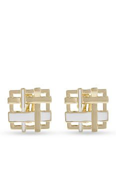 Erica Lyons Gold-Tone Blurred Lines Woven Square Clip Earrings -