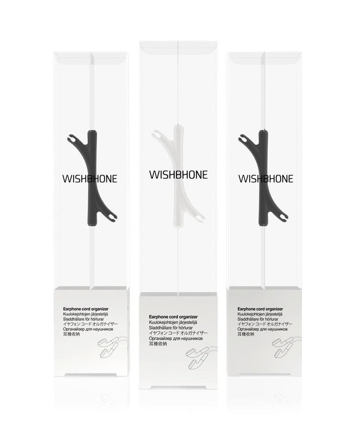 PACKLAB - Packaging Design. Packaging brand and graphic design for Wishbhone earphone cord manager product. Winner of two UK Starpack design awards for Structural Packaging Design and for Product-Packaging Integration. Designed by http://www.packdesign.com