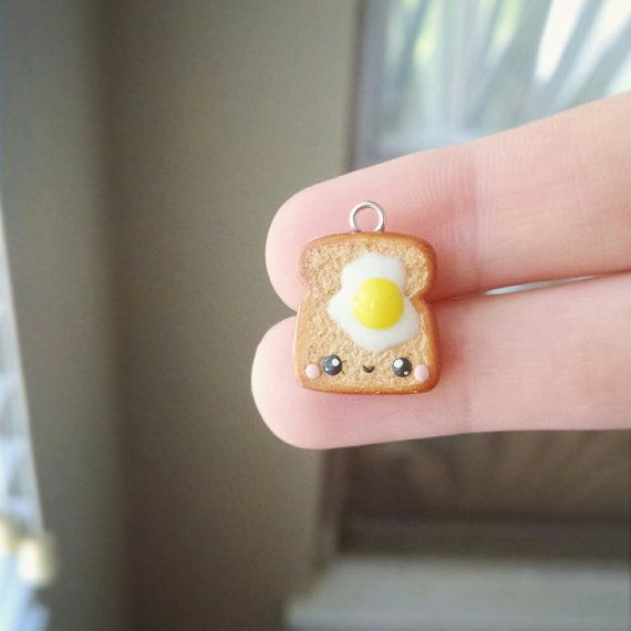 Kawaii Egg on Toast - Polymer Clay Charm, Polymer Clay Jewelry, Miniature Food, Food Jewelry, Pendant, Breakfast, Kawaii Charm, Kawaii, Cute