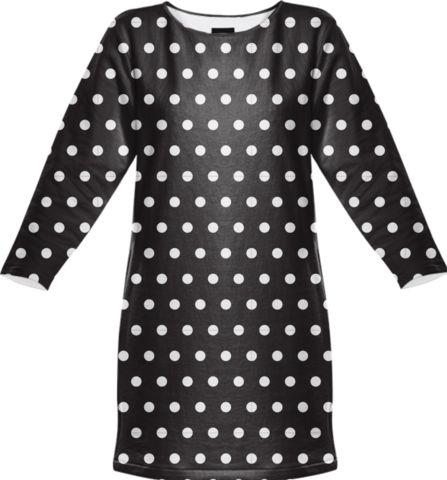 Polka Sweatshirt Dress (Black)