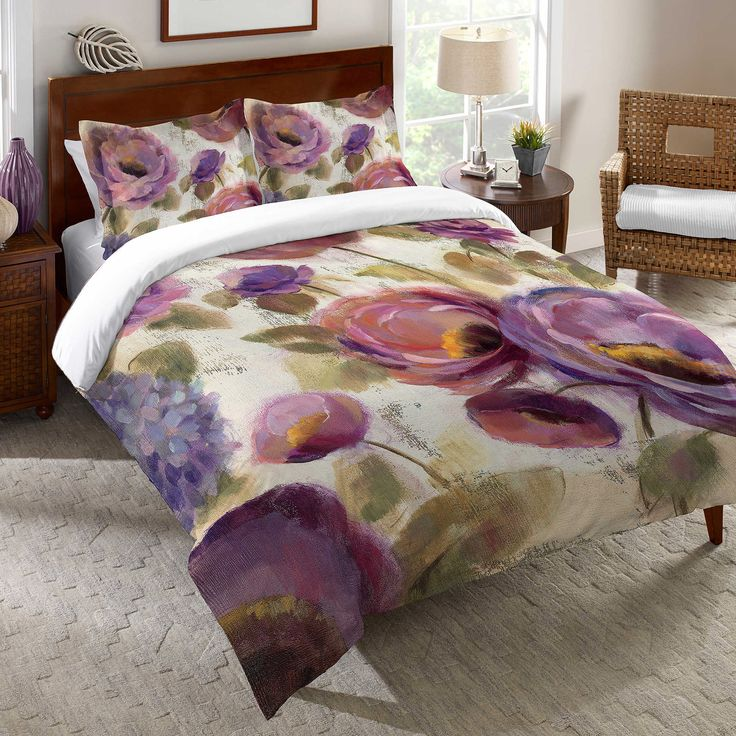 Laural Home Blue and Floral's Duvet Cover King Size