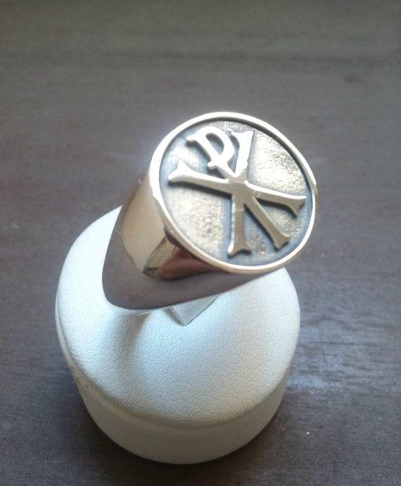 Varouxi Chi Rho Sterling Silver Ring Men Christian by Varouxi