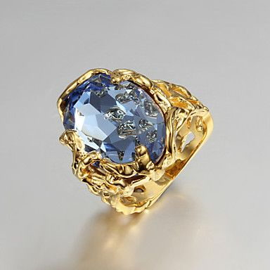 Gift For Girlfriend European Blue Cubic Zirconia Hollow Out Statement Rings(Gold)(1 Pc) – USD $ 7.99