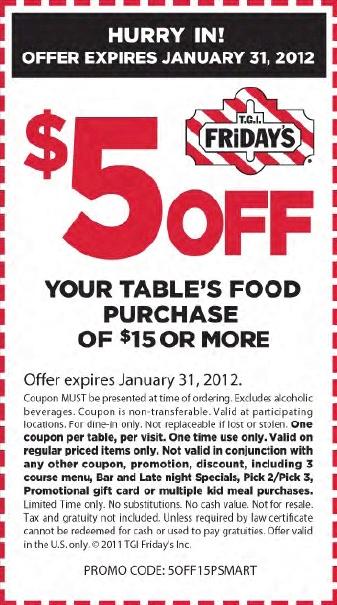 TGI Fridays Coupon: $5 off $15
