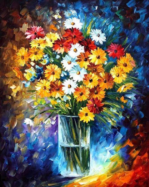 Cuadros Modernos Pinturas : Cuadros de Flores Pintados con Espátula (19 Elementos)                                                                                                                                                      Más