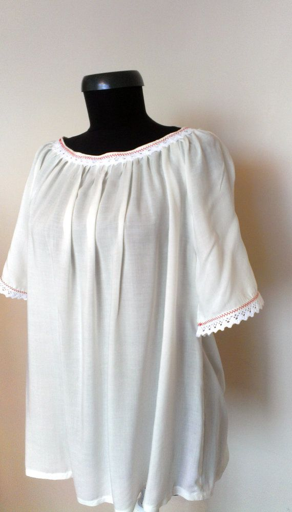 Loose Fit Blouse / Embroidery Tunic Top / by PrincipessaLabel, $55.00