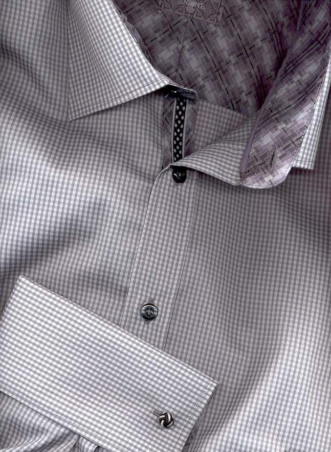 grey gingham french cuff shirt