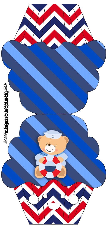 Convite Cupcake Ursinho Marinheiro