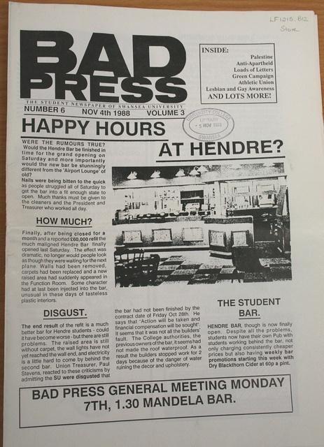 Bad Press - Swansea Uni student newspaper,1988
