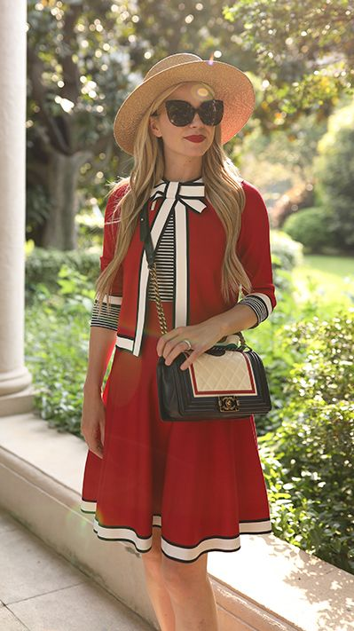 Red and white bow skirt and blazer ensemble