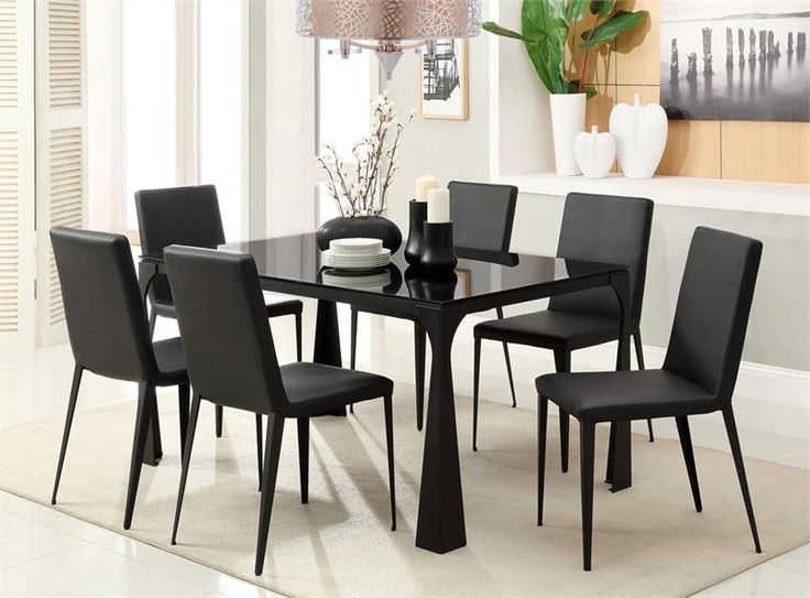 Elegant Alia Modern Black Glass Dining Table Set