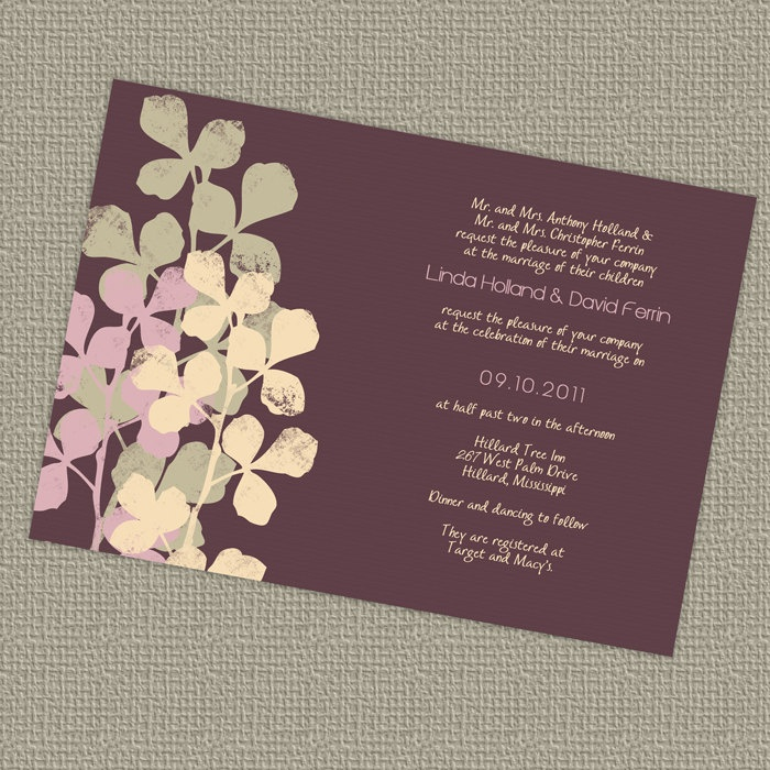 Purple wedding invitation with leaves digital printable