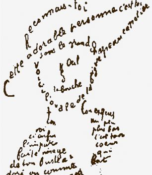 Apollinaire Calligrammes published, 1918. Guillaume Apollinaire was a French poet, playwright, and art critic born in Italy. Calligrammes, a collection of his concrete poetry (poetry in which typography and layout adds to the overall effect), and more orthodox, though still modernist poems informed by Apollinaire's experiences in the First World War and in which he often used the technique of automatic writing, was published.
