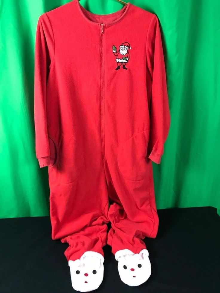 One piece adult Christmas footed pajamas by NICK & NORA. condition - No issues that I see; bright red and no tears, rips or stains. Only obvious wear is on the bottoms of both feet and it's minor. fabric - 100% polyester.   eBay!