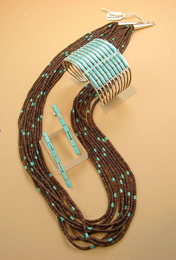 HEISHI, TURQUOISE AND ZUNI INLAY    Heishi and turquoise bead necklace by Ramona Bird, Santo Domingo