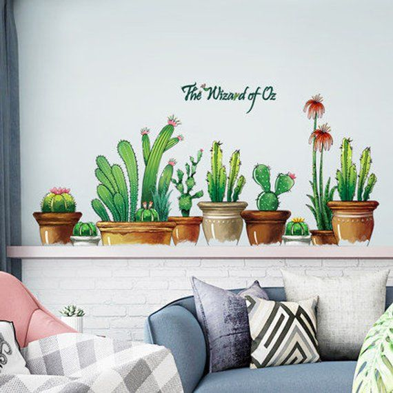 Cactus Potted Living Room Bedroom TV Background Self-adhesive Wall Stickers WA