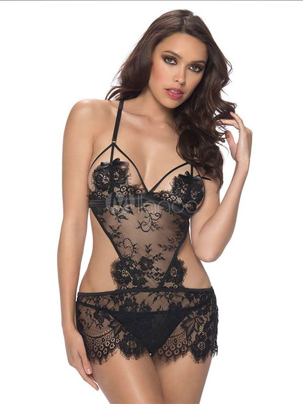 7ada24464 Lace Women Chemise Cut Out Backless Sheer Black 2 Piece Lingerie Set With T  Back-No.2