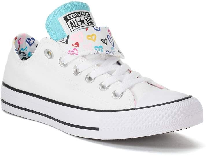 53e78382b8ab Converse Women s Chuck Taylor All Star Double Tongue Heart Print Sneakers