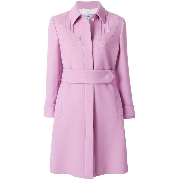 Prada belted single breasted coat (38.282.335 IDR) ❤ liked on Polyvore featuring outerwear, coats, retro coat, prada, prada coat, single-breasted trench coats and belted coat