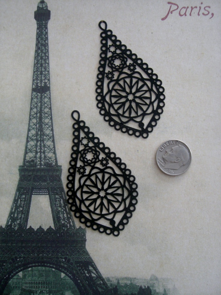 Laser Lace Filigree Findings, Black Plated (2). $2.70, via Etsy.
