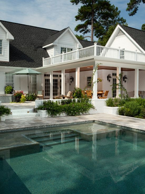 relaxingTraditional Design, Ideas, Swimming Pools, Dreams House, Pools Patios, Porches, Outdoor Spaces, Pools Design, Backyards