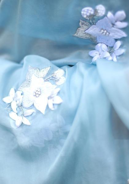 Powder Blue White Floral Pure Silk Chiffon Saree