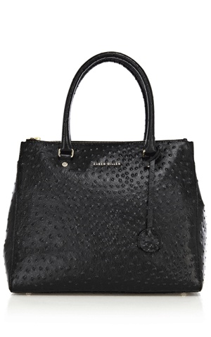 SIGNATURE LEATHER LARGE BOWLER > Ostrich effect large leather bowler with multi zip pockets and Karen Millen branded metalwork, sized 35 X 30 X 16 CM. PRICE: £225.00