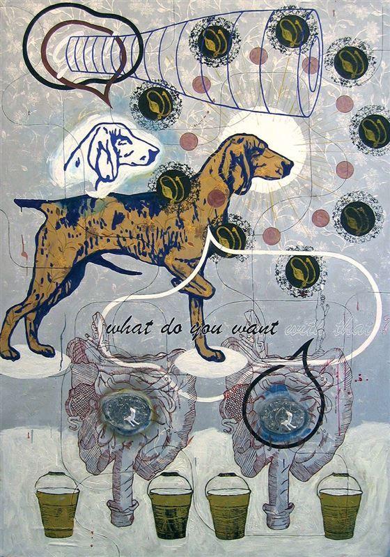 #ArnoldMarioDall´O - What do you want, 2004, Mischtechnik auf Holz / tecnica mista su tavola, 187x130 cm