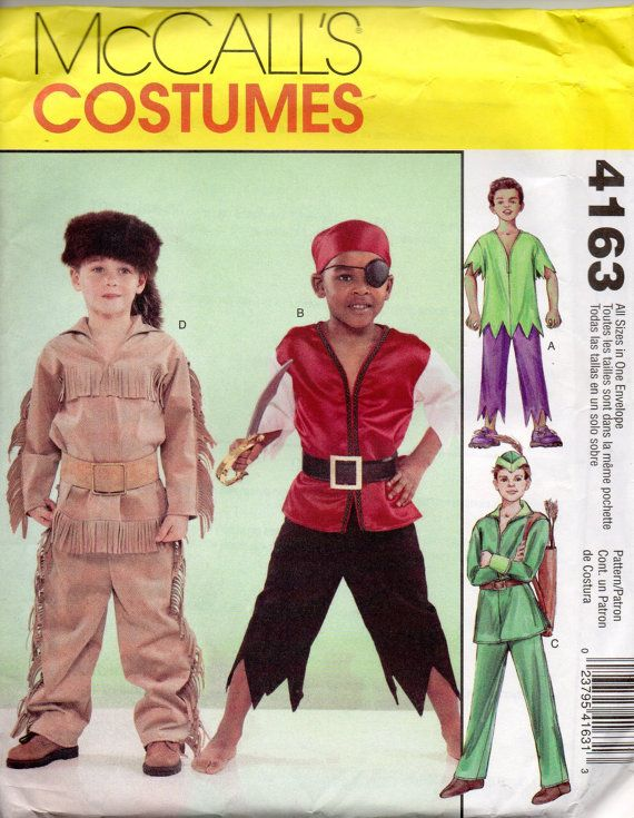 mccalls 4163 childs costume pattern daniel boone hulk pirate robin hood boys girls halloween costume - Childrens Halloween Costume Patterns