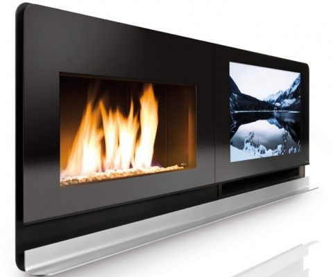 Fireplace great idea! Takes care of a  design problem I have faced many times...where to put the blasted tv!