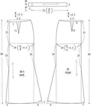スカート製図 drafting skirt