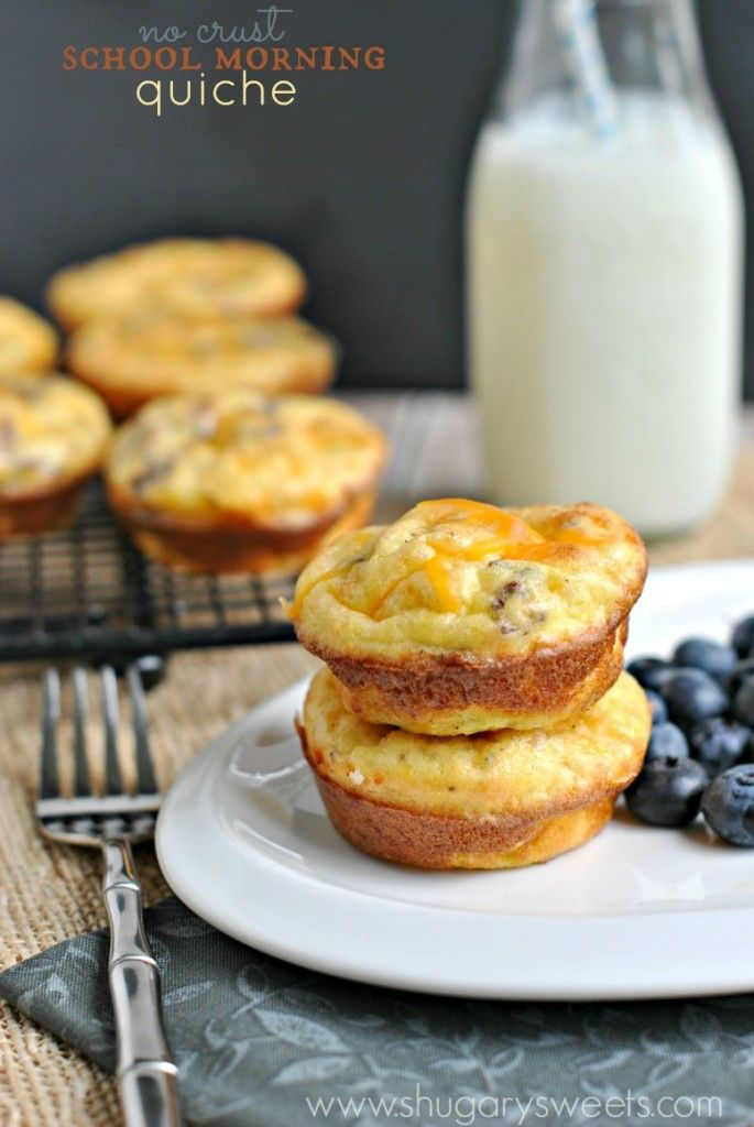 School mornings are busy enough. Why not enjoy some of these no-crust quiche. Make ahead and freeze #bacon